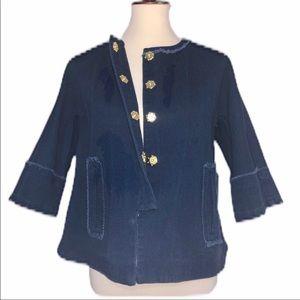 Simply Vera Wang Jacket Twill Navy Blue Large